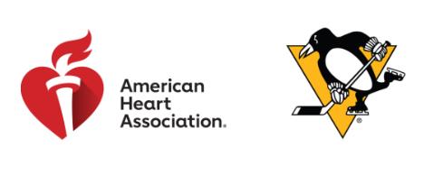 american heart associaton and pittsburgh penguins logos